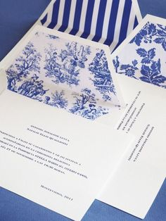 Blue and white wedding invitations with a classy touch! The color scheme is perfect for a Penn State wedding, but with a vintage feel. Blue And White China, Blue China, Love Blue, Chinoiserie, Wedding Stationary, Wedding Invitations, Wedding Card, Theodora Home, Blue White Weddings