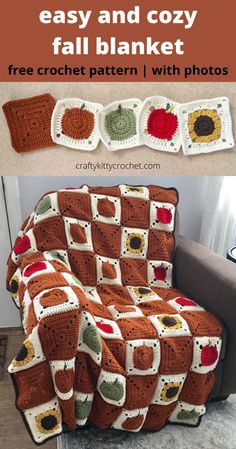 It's time to celebrate some of the best things about fall – apples, pumpkins, and sunflowers!  What better way to do that than by cozying up with this fall afghan, which features all of the above fall staples?  You can customize your blanket to have as many red and green apples, pumpkins, sunflowers, and rust-colored accent squares as you like! The pattern walks you through each granny square with photos. Nothing says farmhouse chic like this farm fresh throw blanket - and the pattern is… Crochet Throw Pattern, Easy Crochet Blanket, Crochet Blanket Patterns, Crochet Blankets, Crochet Granny, Free Crochet, Granny Square Afghan, Granny Squares, Beginner Crochet Tutorial