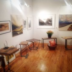 Beautiful Wilkins Design Salvaged Wood Tables mixed with some amazing art that was created locally. Wood Tables, Entryway Tables, Uxbridge Ontario, Salvaged Wood, Amazing Art, Repurposed, Studio, Furniture, Beautiful