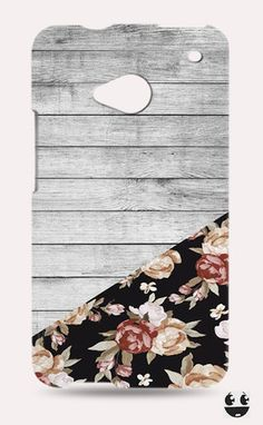 HTC One Phone Case, HTC One Case Wooden Flower Floral