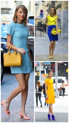 looks com cor amarela e azul, Taylor Swift arrasa
