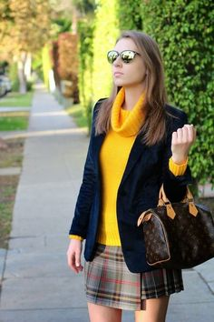 Back In LA  #Women Winter Urban Chic Streetstyle #Black Velvet Blazer #Mustard Turtleneck Knit Sweater #Brown LV Prints Tote #Grey Tartan Mini Skirt