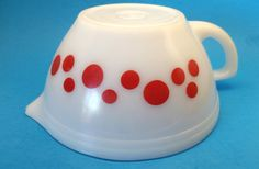 RARE Federal Glass Dots Batter Bowl Red Dots by TheGroovyMagpie