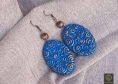 Spiral Navy Blue Earrings Gold Polymer Clay Aquamarine Earrings Boho Earring Unique Handmade Pattern Wife Gift Christmas Blue Wife Gift