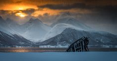 https://flic.kr/p/E4WAZx | The wreck in the flurry | The shipwreck is situated at Tisnes outside the city of Tromsø in the North of Norway
