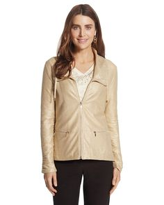 Chico's Women's Zenergy Knit Collection Gold Foil Jacket