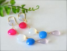 Rainbow Chalcedony Long  Cluster Spring Summer by luxurybyvera, $79.00