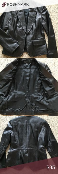 I.N.C international concept LEATHER BLAZER worn once or twice excellent condition i.n.c international concept black leather blazer  sz.s  very fashionable and comfortable  soft leather I.N.C Jackets & Coats Blazers