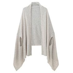 Wool Knit Long Cape Stole With Armhole