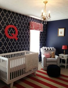 Red, White & Blue nursery with Quatrefoil stenciled wall.  Also 13 other trendy nurseries