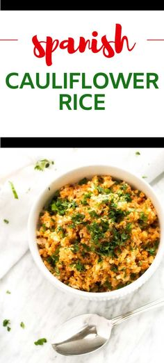 This Easy Spanish Cauliflower Rice is a quick side dish that perfect for a healthy diet. It is just the right match for tacos, enchiladas, or grilled chicken. No surprise, this recipe has become a year-round staple in my side dish repertoire. It is low carb, keto, dairy free, and gluten-free. #wendypolisi #spanishrice #cauliflwoerrice #easyrecipes #lowcarb #lowcarbside Gluten Free Recipes For Breakfast, Healthy Gluten Free Recipes, Gluten Free Dinner, Healthy Dinner Recipes, Spanish Cauliflower Rice, Spanish Rice, Quick Side Dishes, Low Carb Side Dishes, Low Carb Vegetables