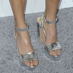 """Nikki Reed in Unusual Bridal-Inspired Monique Lhuillier Dress and Silver Bionda Castana """"Zoe"""" Pumps"""