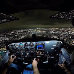"7,702 Likes, 21 Comments - Aviation Daily (@aviationdaily) on Instagram: ""(Photo by @_jarnoldair_) Magical view flying while flying Cessna at night! ✈️ Your dream is to…"""