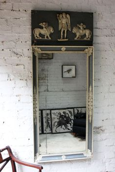 Antique-Early-19thC-Italian-Neoclassical-Painted-Wood-amp-Gesso-Trumeau-Mirror