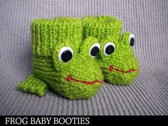 Frog Baby Booties Knitting Pattern