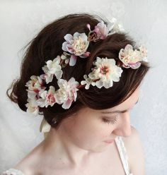bridal floral crown wedding hair accessories ivory por thehoneycomb