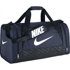 5c0630712 Nike- Brasilia 6 Medium Duffel Bag Midnight Navy/Black/White:  PolyesterliAdjustable padded shoulder strapliLarge main  compartmentliVentilated pocketliTop ...