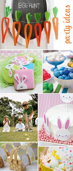 Easter Egg Hunt Party Ideas ~ Treats, Games & Crafts- love the carrot garland!!!
