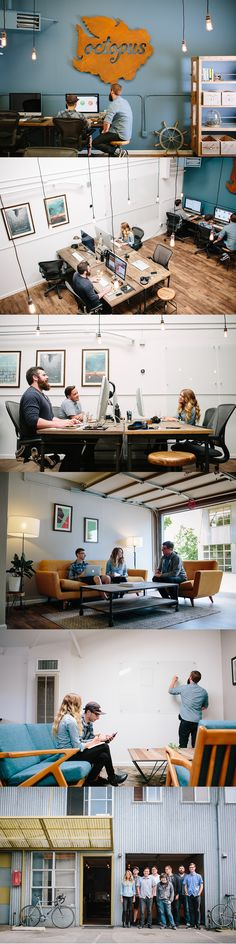 New Sign / Office Revamp by James Hobbs for Octopus @leniparks second photo - look how they did the 4 desks
