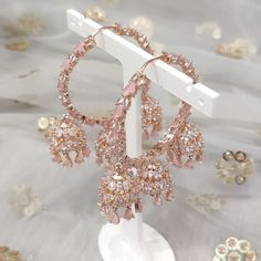 Jhumki Earrings, Dangle Earrings, Diamond Earrings, Pink Stone, Desi, Dangles, Rose Gold, Outfit, Silver