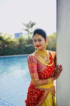 Red Wedding Day Weddings Your Big Day Pattu Saree Blouse Designs, Half Saree Designs, Blouse Designs Silk, Bridal Blouse Designs, Simple Blouse Designs, Stylish Blouse Design, Sumo, Blouse Models, Blouse Desings