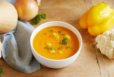 Butternut Squash Soup for FallAutumn Butternut Squash Soup A smooth, full base, tender cauliflower florets, and a hint of caraway create a truly comforting fall butternut squash soup that is 100 percent plant-based. Whole Food Recipes, Soup Recipes, Vegetarian Recipes, Healthy Recipes, Healthy Soups, Healthy Food, Thanksgiving Meal Planner, Thanksgiving Recipes, Butternut Squash Cubes
