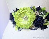 "Navy Blue Green Chartreuse Wedding Ribbon Sash ""Liliana""/ Bridal Sash/ Free Shipping on Additional Items"