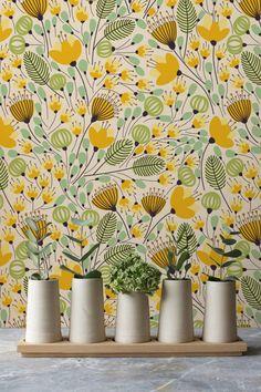 Yellow Flower Pattern Wallpaper, Removable Wallpaper, Wall Sticker, Wall Decal, Seamless Yellow Flower Self-Adhesive Wallpaper, 146