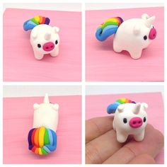 Polymer Clay miniatures, Cute Rainbow Piggy Unicorn Figurine, Fairy Tale Legendary Pig with a Colourful Tail