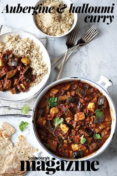 This vegetarian and gluten-free aubergine and halloumi curry recipe is less than 300 calories a serving and ready in just 30 minutes, perfect for a midweek meal Vegetarian Curry, Vegetarian Dinners, Vegetarian Cooking, Vegetarian Recipes, Cooking Recipes, Healthy Recipes, Healthy Cooking, Curry Recipes, Veggie Recipes