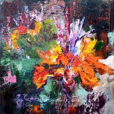 Impressionist Canna Flower Bold Palette Knife Oil Painting , Original Painting - Ginette Fine Art, The Art of Ginette Callaway  - 5
