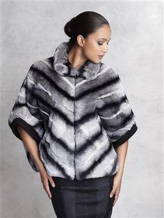Black/Grey Dyed Rabbit Fur Cape #stylish #coat #fur #outwear at Flemington Furs - available online at FlemingtonFurs.com