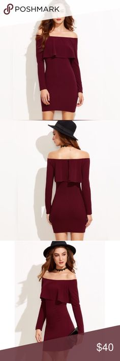 ✨Burgundy Off The Shoulder Ruffle Bodycon Dress✨ ✨Cuff(cm) :S:19cm, M:20cm Bicept Length(cm) :S:28cm, M:29cm Fabric : Fabric is very stretchy Season : Fall Pattern Type : Plain Sleeve Length : Long Sleeve Color : Burgundy Dresses Length : Mini Style : Party Material : 95% Polyester 5% Spandex Neckline : Off the Shoulder Silhouette : Bodycon Decoration : Ruffle Shoulder(cm) :S:42cm, M:43cm Bust(cm) :S:82.5cm, M:86.5cm Waist Size(cm) :S:65cm, M:69cm Hip Size(cm) :S:81.5cm, M:85.5cm Length(cm)…