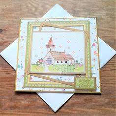 """A pretty card featuring an Easter scene with a church and the sentiment """"Happy Easter"""". The card measures 17 cm inches) square approx. I have left the inside of the card blank for your own message. I have included a matching envelope and the card. Cellophane Bags, Pretty Cards, Blank Cards, Happy Easter, Envelope, February, Challenge, Scene, Colours"""