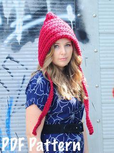 Womens Pixie Hat Pattern, Crochet Pattern, Crochet Hat Pattern, Gnome Hat Pattern. $5.00, via Etsy.