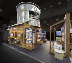 Denver-based exhibit house, Condit, custom built the YETI Coolers exhibit for the Outdoor Retailer show. This rustic design was custom fabricated by Condit's team of skilled craftsmen and included repurposed barn wood, patina metal work, and custom shelving and graphics throughout.