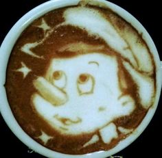 ".·:*¨¨*:·. Coffee ♥ Art.·:*¨¨*:·. #Pinocchio #latte Before he became ""The Protector"" on Once Upon A Time!"