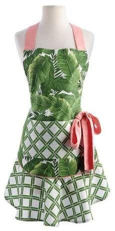 Design Imports Green Banana Leaf Ruffle Apron #apron #affiliate