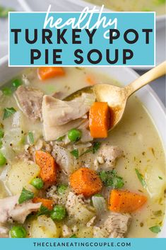 Healthy Turkey Pot Pie Soup is a creamy, delicious, paleo & Whole30 dinner! Easily made in your instant pot, crockpot or on the stove with your leftovers. You'll love how rich and flavorful this turkey pot pie soup is while being completely dairy free! Healthy Turkey Recipes, Healthy Crockpot Recipes, Healthy Meal Prep, Lunch Recipes, Whole30 Recipes, Free Recipes, Yummy Recipes, Healthy Food, Healthy Eating