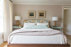 Blue and Brown Headboard with Turquoise Nightstands