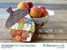 Amanda from Jedi Craft Girl shares a tutorial at Therm O Web showing how you can make this patchwork acorn potholder.  The patchwork is a good way to use some of your smaller fabric scraps.  The po…