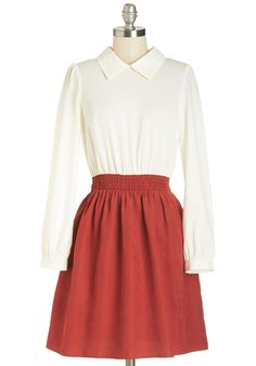 Notable Newbie Dress - Mid-length, Red, Tan / Cream, Solid, Work, Twofer, Long Sleeve, Collared