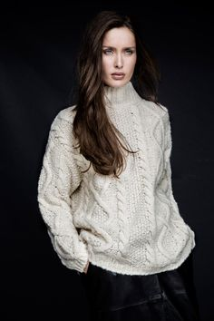 Textured aran knit with ribbed turtle-neck by Carolyn Donnelly The Edit My Wardrobe, Knits, What To Wear, Women Wear, Dressing, Ruffle Blouse, Turtle Neck, Decor Ideas, Knitting