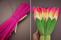Folhas de papel crepom para fazer flor gigante