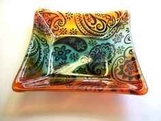 Fused Glass Square Pasiely Dish/bowl (Multi Color) From CDChilds