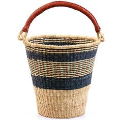 Coming from the Bolgatanga region of Ghana, these baskets are traditionally used for carrying goods to and from the market. Weavers in the region use the abundant Veta vera grass to weave these incredibly hardy, useful baskets. The leather wrapped handle adds to the durability