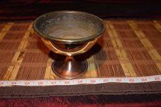 """Brass Round Bowl Copper Footed Pedestal 5 1/4""""x4 1/8"""""""