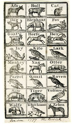 Alphabet - Wood-Engraving Made by Thomas Bewick, 1777