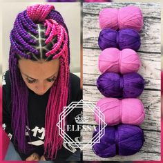 # Braids with extensions pink SET of Brazilian Yarn for Braids High-Quality Acrylic wool for Hair Jumbo Braids, Senegalese Twist, Wraps Natural Knitting Hair, Pink Braids Purple Box Braids, Colored Box Braids, Yarn Braids Styles, Braid Styles, Afro Braids, Jumbo Braids, Fulani Braids, Brazilian Wool Hairstyles, Diy Cabelo