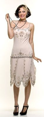 ROARING 20's Cream Beaded Flapper Gatsby Dress $158.00 Store: Unique Vintage